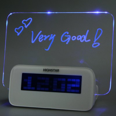 Switchable Highstar Electric Clock Memo Board Blue Light DisplayClocks<br>Switchable Highstar Electric Clock Memo Board Blue Light Display<br><br>Color: White<br>Package Contents: 1 x Clock, 1 x Highlighter, 1 x Chinese-English User Manual<br>Package size (L x W x H): 18.00 x 14.50 x 9.00 cm / 7.09 x 5.71 x 3.54 inches<br>Package weight: 0.3000 kg<br>Product size (L x W x H): 14.00 x 6.50 x 11.50 cm / 5.51 x 2.56 x 4.53 inches<br>Product weight: 0.1180 kg<br>Shape: Irregular,Novelty<br>Style: Modern<br>Theme: Others<br>Time Display: Digital<br>Type: Table Clock
