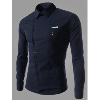 Embroidery Navy Shirt for Men