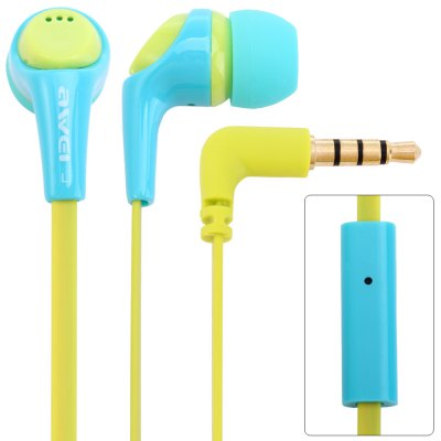 Awei ESQ6i 1.2m Flat Cable In - ear Earphone with Mic for Smartphone Tablet PC