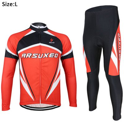 Arsuxeo ZLS06V Men Cycling Suit Jersey Jacket Pants Kit Long Sleeve Bike Bicycle Outdoor Running Clothes