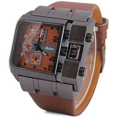 Oulm 3364 Quartz Watch with Leather Band Square Dial for Men