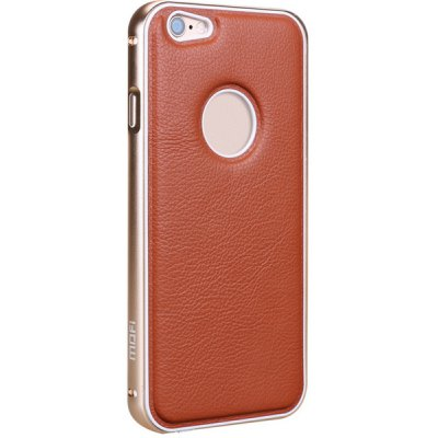 Mofi Frame Style Aluminium Alloy Bumper with PU Back Case for iPhone 6  -  4.7 inches