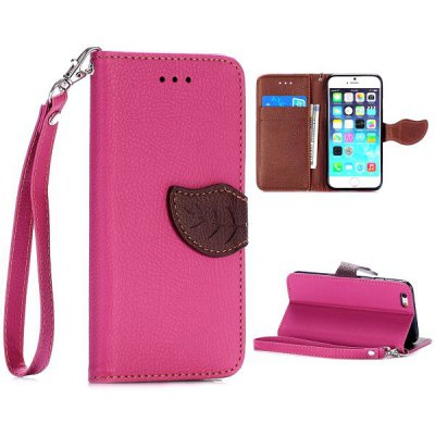 Lichee Pattern Cover TPU + PU Case with Leaf Magnetic Buckle Card Holder Stand Function for iPhone 6  -  4.7 inch
