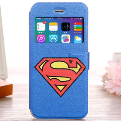 Fashionable Blue Super Man Shield Pattern PU and TPU Case Cover for iPhone 6  -  4.7 inches
