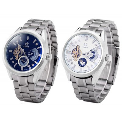 Fuyate 2216B Male Automatic Mechanical Watch Stainless Steel Band Toubillon Moon Phase