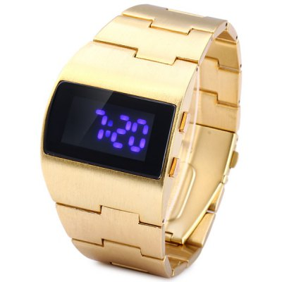 Rectangle Dial LED Sports Watch Date Stainless Steel Strap for Men
