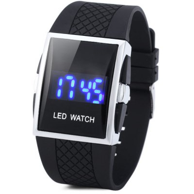 YH - 10 Digital Stainless Steel Back Date LED Sport Watch Toughened Glass Mirror Watch