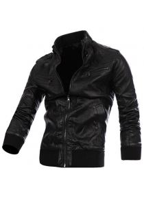 Stylish Stand Collar Slimming Epaulet Zipper Design Rib Splicing Long Sleeve PU Leather Jacket For Men
