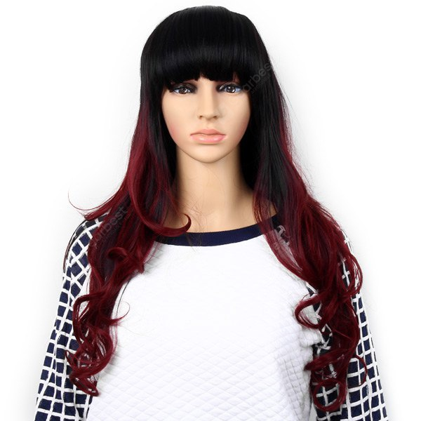 Highlight Women Curly Long Hair Periwig Hairpiece Wig with Fringe - Black and Wine Red