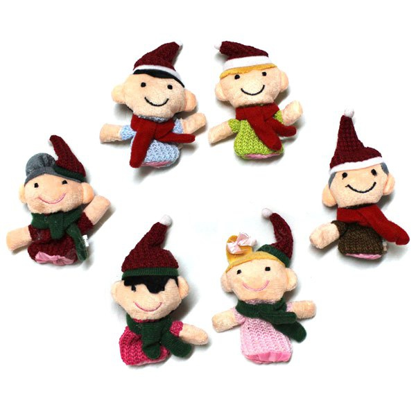 6pcs Happy Family Finger Puppets Story Cute Cloth Doll Baby Educational Toy