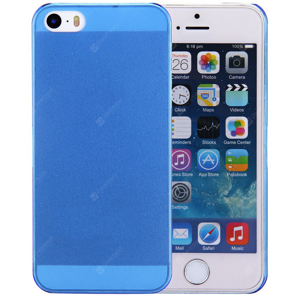Protective Back Cover Case Frosted Design Solid Color iPhone SE / 5 5S BLUE
