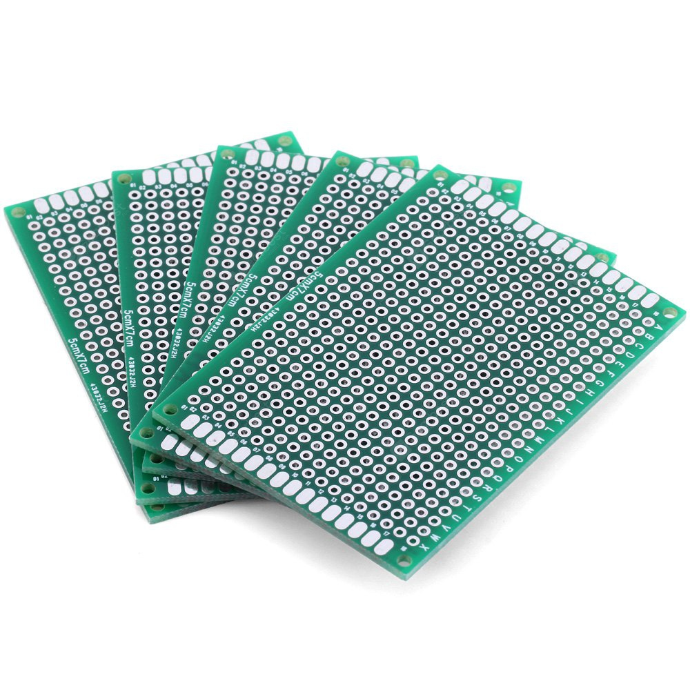 High Performance 5 x 7cm Double Sided Glass Fiber Prototyping PCB Breadboard for DIY Project 5PCS