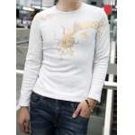 Buy Casual Round Neck Dragon Totem Print Slimming Solid Color Long Sleeves Men's Thicken T-Shirt L GRAY