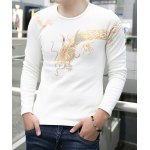 Buy Casual Round Neck Dragon Totem Print Slimming Solid Color Long Sleeves Men's Thicken T-Shirt L WHITE
