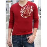 Buy Fashion Style V-Neck Solid Color Totem Print Slimming Long Sleeves Men's Thicken T-Shirt 3XL WINE RED
