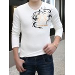 Buy Fashion Style V-Neck Solid Color Totem Print Slimming Long Sleeves Men's Thicken T-Shirt 3XL WHITE