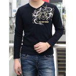 Buy Fashion Style V-Neck Solid Color Totem Print Slimming Long Sleeves Men's Thicken T-Shirt 2XL SAPPHIRE BLUE