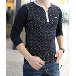 Buy Trendy Color Block Round Neck Slimming Tiny Floral Print Long Sleeves Men's Thicken T-Shirt 3XL SAPPHIRE BLUE