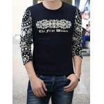 Buy China Style Round Neck Slimming Ethnic Print Long Sleeves Splicing Men's Cotton Blend T-Shirt XL SAPPHIRE BLUE