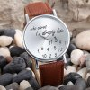 Words and Numbers Dial Quartz Watch Leather Strap Round Dial for Women for sale