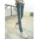 Buy Slimming Zipper Fly Rhombus Print Bleach Wash Button Pocket Design Narrow Feet Men's Plus Size Jeans 28 LIGHT GRAY