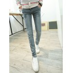 Buy Slimming Zipper Fly Rhombus Print Bleach Wash Button Pocket Design Narrow Feet Men's Plus Size Jeans 36 LIGHT GRAY