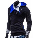 Buy Stylish Hooded Slimming Color Splicing Zipper Design Long Sleeve Thicken Polyester Hoodie Men M CADETBLUE
