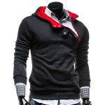 Buy Stylish Hooded Slimming Color Splicing Zipper Design Long Sleeve Thicken Polyester Hoodie Men L DEEP GRAY
