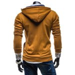 Buy Stylish Hooded Slimming Color Splicing Zipper Design Long Sleeve Thicken Polyester Hoodie Men 2XL