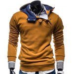 Buy Stylish Hooded Slimming Color Splicing Zipper Design Long Sleeve Thicken Polyester Hoodie Men XL