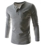 Buy Light gray Stylish Round Neck Slimming One Pocket Button Design Long Sleeve Polyester T-Shirt Men-13.71 Online Shopping GearBest.com