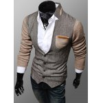 Buy Trendy PU Leather Embellished Pocket Stand Collar Slimming Fabric Splicing Long Sleeves Men's Coat L