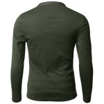 Buy Stylish V-Neck Slimming Button Design Fabric Splicing Long Sleeve Polyester Polo Shirt Men 2XL ARMY GREEN
