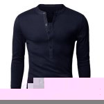 Buy Stylish V-Neck Slimming Button Design Fabric Splicing Long Sleeve Polyester Polo Shirt Men L