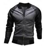 Stylish Stand Collar Slimming Pocket Design Fabric Splicing Long Sleeve Polyester Jacket For Men