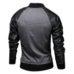 Stylish Stand Collar Slimming Pocket Design Fabric Splicing Long Sleeve Polyester Jacket For Men deal