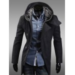 Buy Black Fashion Zipper Design Hooded Inclined Button Fly Slimming Long Sleeves Men's Woolen Coat-40.37 Online Shopping GearBest.com
