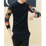 Buy Stylish Round Neck Slimming Color Block Print Splicing Long Sleeve Cotton Blend T-Shirt Men L BLACK