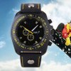 S - 1032 Decorative Sub - dial Sports Watch with Large Dial Bright Color Leather Band for sale