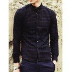 Buy Stylish Shirt Collar Slimming Checked Design Long Sleeve Cotton Blend Men M BLUE