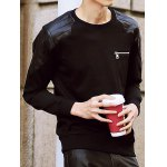 Buy Stylish Round Neck Loose Fit PU Leather Splicing Zipper Design Long Sleeve Cotton Blend Sweatshirt Men XL