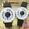 Yazole 301 Quartz Watch Analog Watches Cartoon EXO Style Leather Strap for Couple deal