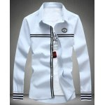 Buy Stylish Shirt Collar Slimming Badge Design Stripe Splicing Long Sleeve Cotton Blend Men 5XL LIGHT BLUE
