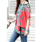 Ethnic Style Scoop Neck Print Color Block Short Sleeve T-Shirt For Women deal