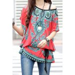 cheap Ethnic Style Scoop Neck Print Color Block Short Sleeve T-Shirt For Women