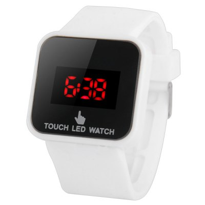 Гаджет   LED Touch Screen Watch Red Subtitles Rectangle Dial Rubber Band LED Watches