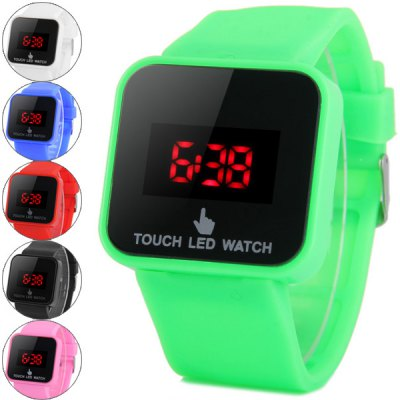 LED Touch Screen Watch Red Subtitles Rectangle Dial Rubber Band от GearBest.com INT