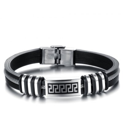 Fashionable Printed Buckle Silicone Chain Bracelet For Men