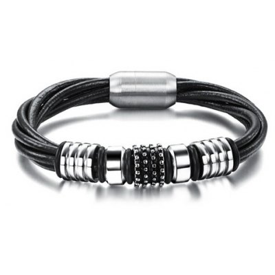 Stylish Chic Magnetic Buckle Layered Faux Leather Chain Bracelet For Men