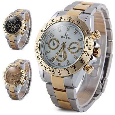 ФОТО BiaoQi Men Quartz Watch Water Resistant Three Working Sub - dials Stainless Steel Body